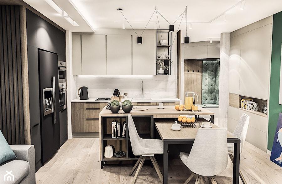 PROJEKT MIESZKANIA -Wawa Bemowo 2018 - Średnia otwarta biała kuchnia w kształcie litery l z wyspą, styl industrialny - zdjęcie od BIBI