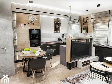 Projekt mieszkania - Gdańsk 2019 r. - Mała otwarta wąska kuchnia w kształcie litery u w aneksie z oknem, styl nowoczesny - zdjęcie od BIBI
