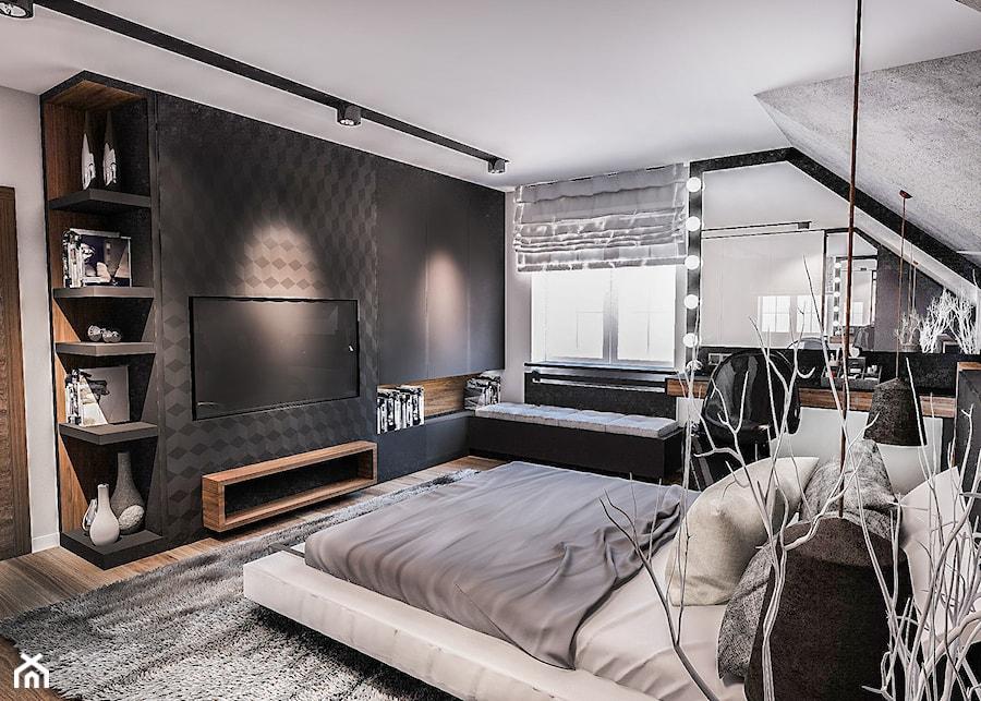 PROJEKT SYPIALNI NA PODDASZU - Średnia szara czarna sypialnia małżeńska, styl nowoczesny - zdjęcie od BIBI