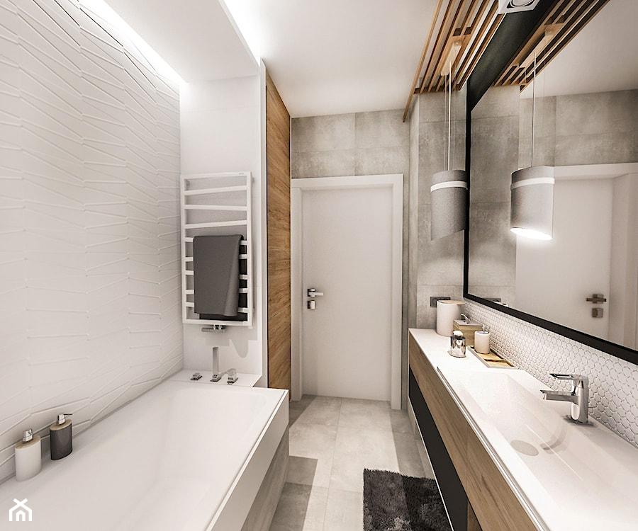 Projekt Mieszkania 70m2 Wawa 2017 średnia Biała łazienka