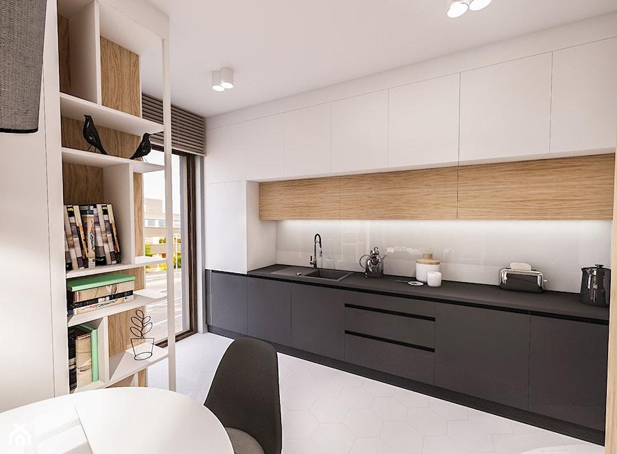 PROJEKT MIESZKANIA 46 m2-Wawa 2018 - Średnia biała kuchnia jednorzędowa w aneksie, styl skandynawski - zdjęcie od BIBI