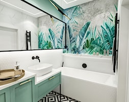 PROJEKT ŁAZIENKI - 6m2 - Średnia zielona łazienka w bloku w domu jednorodzinnym bez okna, styl vintage - zdjęcie od BIBI
