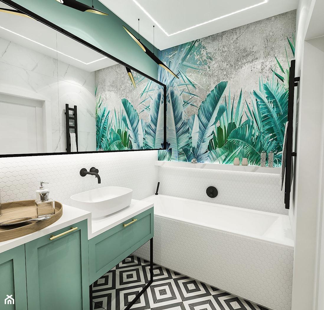 PROJEKT ŁAZIENKI - 6m2 - Średnia zielona łazienka w bloku w domu jednorodzinnym bez okna, styl vintage - zdjęcie od BIBI - Homebook