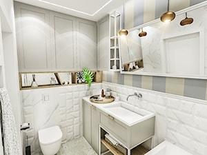 PROJEKT MIESZKANIA - WAWA-SŁUŻEW 2018 - Średnia biała szara łazienka w bloku w domu jednorodzinnym bez okna, styl klasyczny - zdjęcie od BIBI