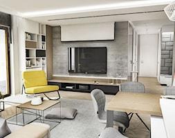 Projekt Mieszkania W-wa 2019 - Duży szary biały salon z bibiloteczką z kuchnią z jadalnią z tarasem / balkonem - zdjęcie od BIBI
