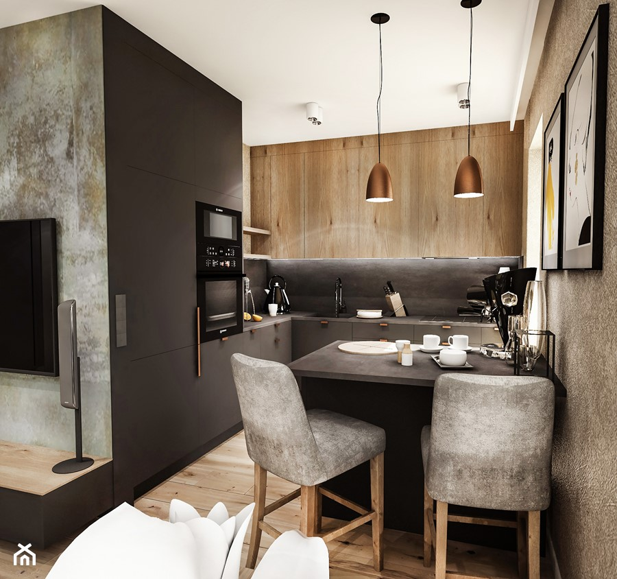 PROJEKT MIESZKANIA / Wersja ciemna - ŁÓDŹ 2019 - Średnia otwarta szara czarna kuchnia w kształcie litery l z oknem, styl vintage - zdjęcie od BIBI