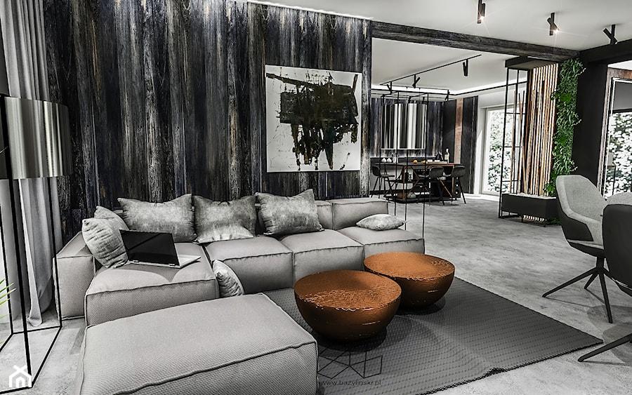 PROJEKT DOMU -PABIANICE 2018 - Średni czarny salon z jadalnią, styl nowoczesny - zdjęcie od BIBI