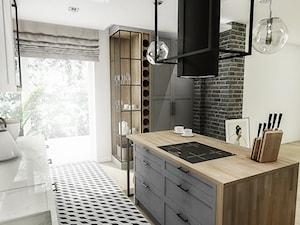 PROJEKT KUCHNI -WROCŁAW 2019 - Średnia otwarta biała szara kuchnia jednorzędowa w aneksie z wyspą z oknem, styl vintage - zdjęcie od BIBI