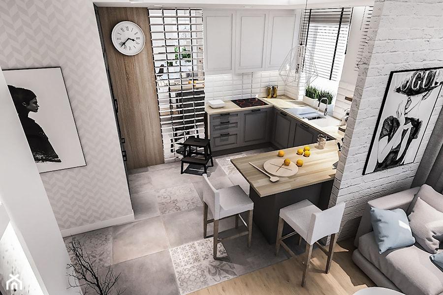 Projekt kuchni i salonu Łódź 2017 - Mała otwarta biała kuchnia w kształcie litery u w aneksie z oknem, styl skandynawski - zdjęcie od BIBI