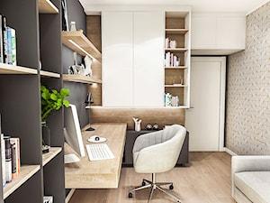 PROJEKT MIESZKANIA / Wersja ciemna - ŁÓDŹ 2019 - Małe beżowe szare białe biuro kącik do pracy w pokoju, styl vintage - zdjęcie od BIBI