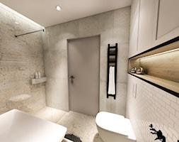 PROJEKT DOMU JEDNORODZINNEGO - GDAŃSK 2018r. - Średnia biała łazienka w bloku w domu jednorodzinnym bez okna, styl vintage - zdjęcie od BIBI