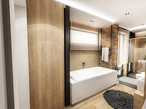 PROJEKT ŁAZIENKI - Tyrol 2018 - Średnia beżowa brązowa łazienka w domu jednorodzinnym z oknem, styl skandynawski - zdjęcie od BIBI