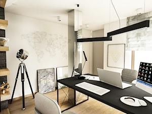 PROJEKT DOMU JEDNORODZINNEGO - GDAŃSK 2018r. - Średnie szare białe biuro domowe kącik do pracy w pokoju, styl vintage - zdjęcie od BIBI