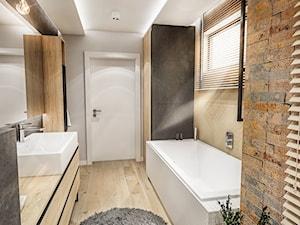 PROJEKT ŁAZIENKI - Tyrol 2018 - Średnia beżowa szara łazienka w domu jednorodzinnym z oknem, styl skandynawski - zdjęcie od BIBI