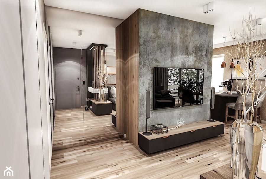 PROJEKT MIESZKANIA / Wersja ciemna - ŁÓDŹ 2019 - Średni szary biały salon z kuchnią z jadalnią, styl vintage - zdjęcie od BIBI