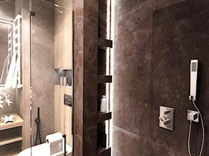ŁAZIENKA - IRON BRONZE ŁÓDŹ 2019 - Średnia czarna szara łazienka w bloku bez okna, styl vintage - zdjęcie od BIBI