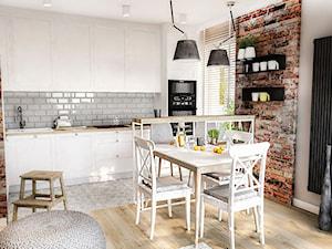 PROJEKT MIESZKANIA 50 m2- Łódź 2018 - Średnia biała szara kuchnia jednorzędowa w aneksie z oknem, styl skandynawski - zdjęcie od BIBI
