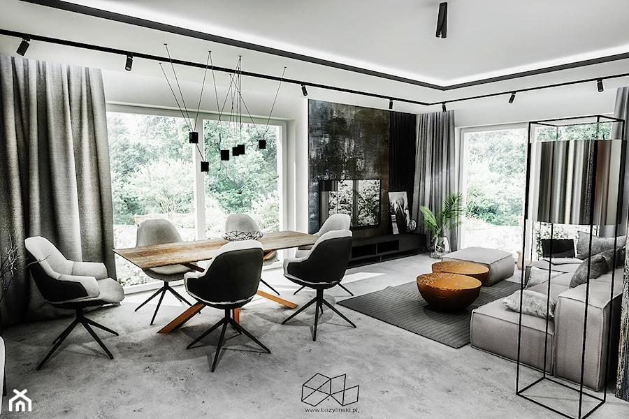 PROJEKT DOMU -PABIANICE 2018 - Duży szary czarny salon z jadalnią, styl nowoczesny - zdjęcie od BIBI