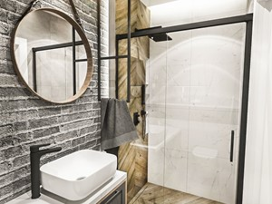 ŁAZIENKA MAŁA - WROCŁAW 2019 - Średnia biała szara łazienka bez okna, styl vintage - zdjęcie od BIBI