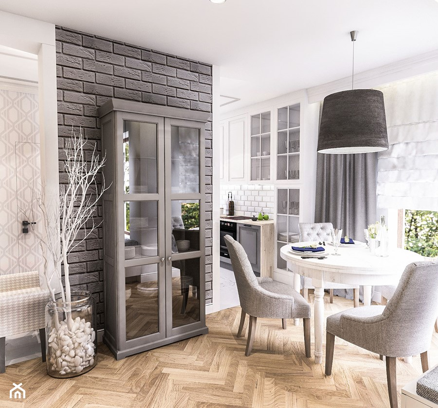 PROJEKT WNĘTRZ DOMU POD WARSZAWĄ 2018 - Średnia otwarta biała szara jadalnia jako osobne pomieszczenie, styl eklektyczny - zdjęcie od BIBI