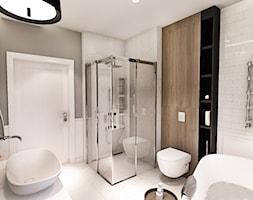 PROJEKT WNĘTRZ DOMU POD WARSZAWĄ 2018 - Średnia biała szara łazienka w bloku w domu jednorodzinnym bez okna - zdjęcie od BIBI