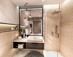PROJEKT DOMU JEDNORODZINNEGO - GDAŃSK 2018r. - Średnia beżowa łazienka w bloku w domu jednorodzinnym bez okna, styl vintage - zdjęcie od BIBI
