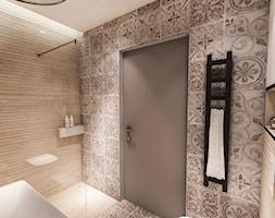 PROJEKT DOMU JEDNORODZINNEGO - GDAŃSK 2018r. - Mała biała łazienka w bloku w domu jednorodzinnym bez okna, styl vintage - zdjęcie od BIBI