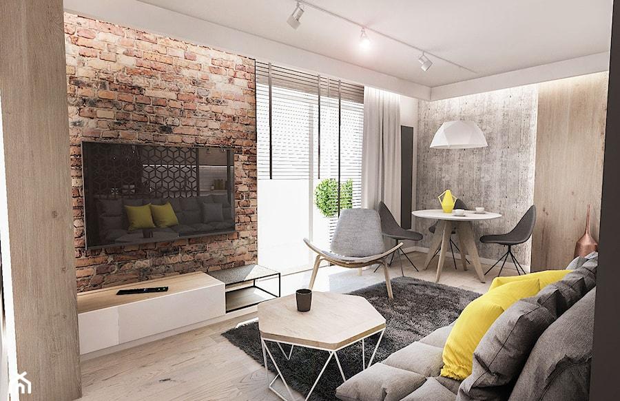 Projekt mieszkania 60 m2 w Gdańsku - Mały szary salon z jadalnią, styl skandynawski - zdjęcie od BIBI