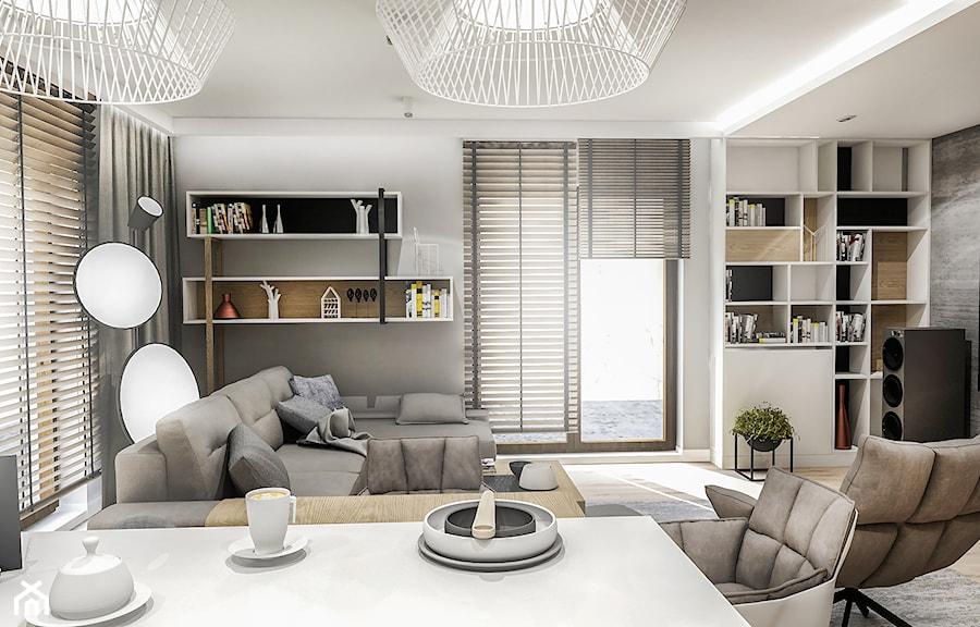 Projekt Mieszkania W-wa 2019 - Mały szary salon z jadalnią - zdjęcie od BIBI