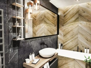 ŁAZIENKA - WROCŁAW 2019 - Średnia czarna łazienka w bloku bez okna, styl vintage - zdjęcie od BIBI