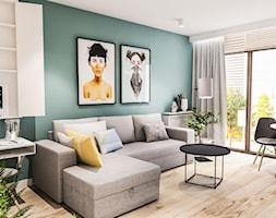 PROJEKT MIESZKANIA 46 m2-Wawa 2018 - Mały niebieski salon z jadalnią, styl skandynawski - zdjęcie od BIBI