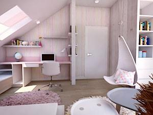Pokój dziewczynki na poddaszu - Średni biały kolorowy pokój dziecka dla dziewczynki dla ucznia dla nastolatka, styl tradycyjny - zdjęcie od BIBI