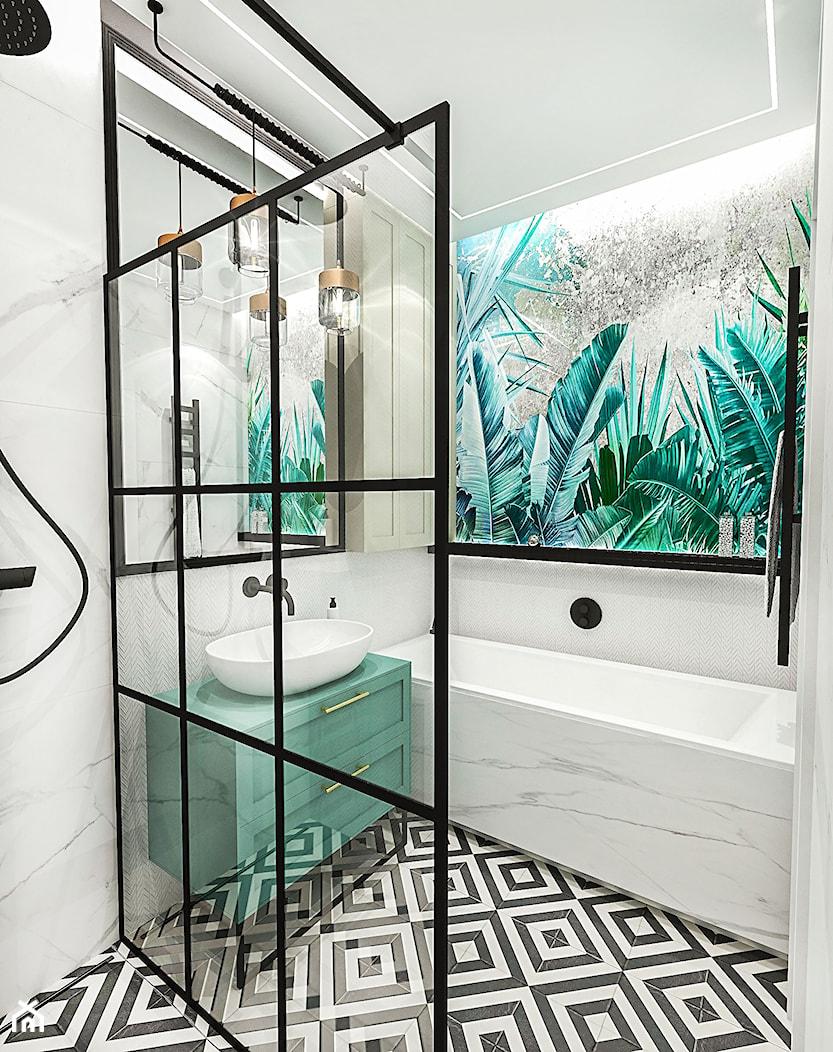 PROJEKT ŁAZIENKI - 6m2 - Mała łazienka w bloku w domu jednorodzinnym bez okna, styl nowojorski - zdjęcie od BIBI - Homebook