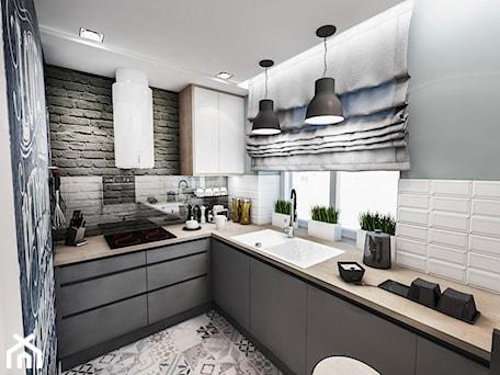 Projekt mieszkania w Łodzi 65 m2 - Średnia otwarta zamknięta biała szara kuchnia w kształcie litery l, styl skandynawski - zdjęcie od BIBI