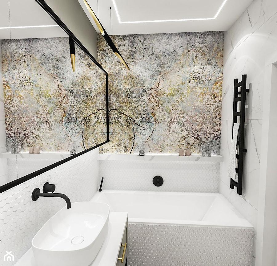 PROJEKT ŁAZIENKI - 6m2 - Mała łazienka w bloku w domu jednorodzinnym bez okna, styl vintage - zdjęcie od BIBI
