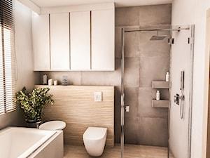 PROJEKT DOMU JEDNORODZINNEGO - GDAŃSK 2018r. - Średnia szara łazienka w bloku w domu jednorodzinnym z oknem, styl vintage - zdjęcie od BIBI