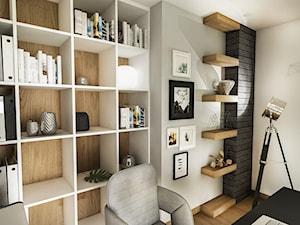 PROJEKT DOMU JEDNORODZINNEGO - GDAŃSK 2018r. - Średnie czarne szare białe biuro domowe kącik do pracy w pokoju, styl vintage - zdjęcie od BIBI