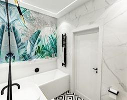 PROJEKT ŁAZIENKI - 6m2 - Średnia biała szara łazienka w ...