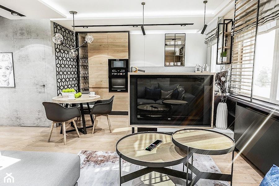 Projekt mieszkania - Gdańsk 2019 r. - Średni biały czarny salon z kuchnią z jadalnią, styl nowoczesny - zdjęcie od BIBI