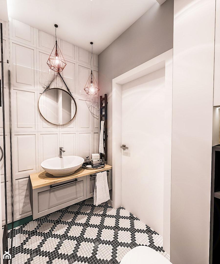 PROJEKT MAŁEJ ŁAZIENKI w Kamienicy - Wawa - Średnia beżowa szara łazienka w bloku w domu jednorodzinnym bez okna, styl nowojorski - zdjęcie od BIBI