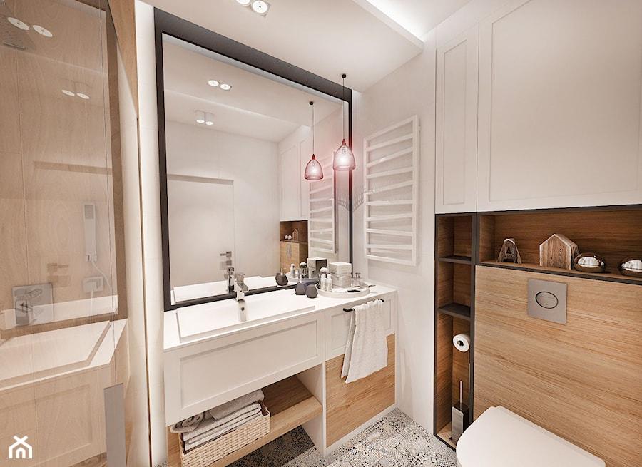 PROJEKT MIESZKANIA 50 m2- Łódź 2018 - Mała biała łazienka w bloku w domu jednorodzinnym bez okna, styl skandynawski - zdjęcie od BIBI