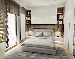 Projekt Mieszkania W-wa 2019 - Mała szara sypialnia małżeńska, styl skandynawski - zdjęcie od BIBI - Homebook