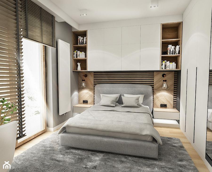 Projekt Mieszkania W-wa 2019 - Mała szara sypialnia małżeńska, styl skandynawski - zdjęcie od BIBI