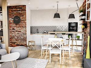 PROJEKT MIESZKANIA 50 m2- Łódź 2018 - Średnia szara brązowa kuchnia w kształcie litery l w aneksie z oknem, styl skandynawski - zdjęcie od BIBI