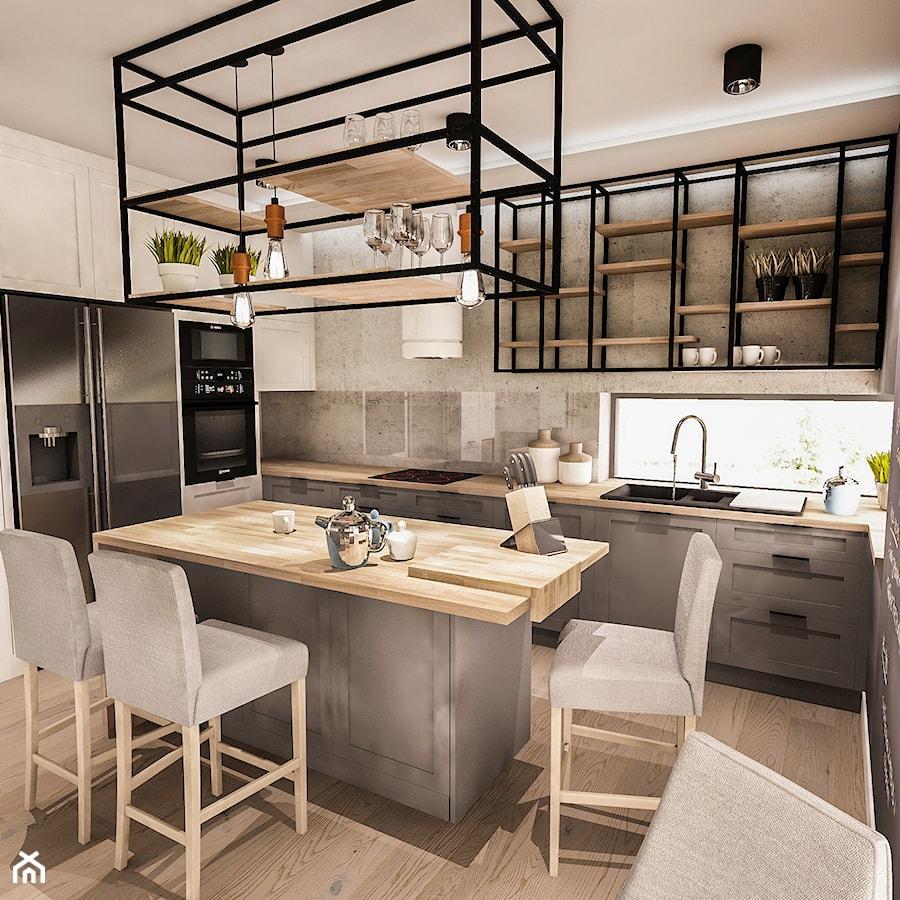 Projekt Wnętrza Domu łódź 2019 średnia Otwarta Szara Kuchnia W