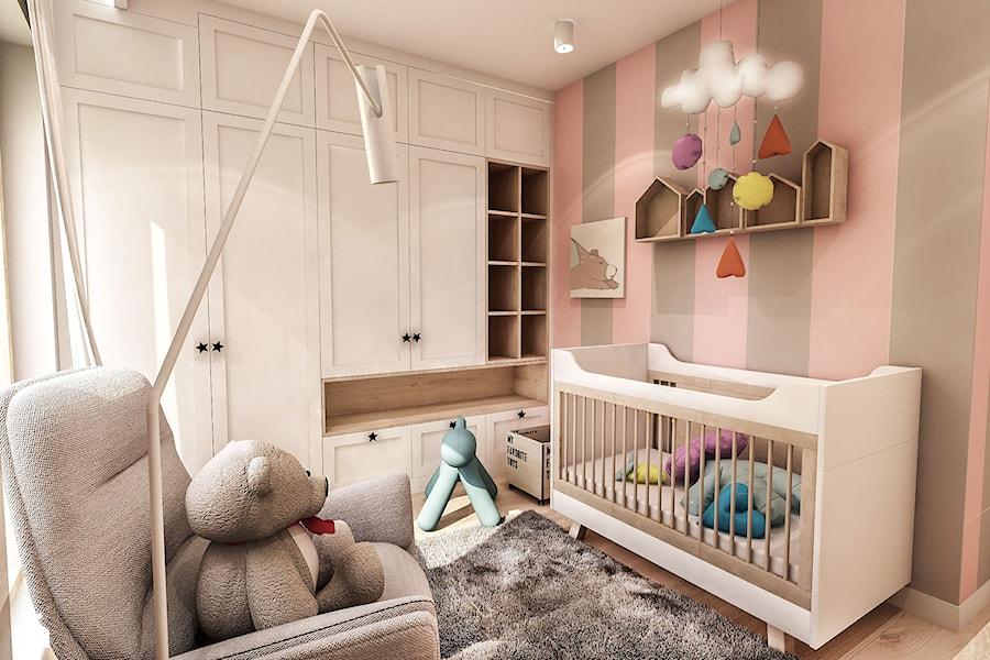 Aranżacje wnętrz - Pokój dziecka: Projekt Mieszkania W-wa 2019 - Mały szary różowy pokój dziecka dla chłopca dla dziewczynki dla niemowlaka - BIBI. Przeglądaj, dodawaj i zapisuj najlepsze zdjęcia, pomysły i inspiracje designerskie. W bazie mamy już prawie milion fotografii!