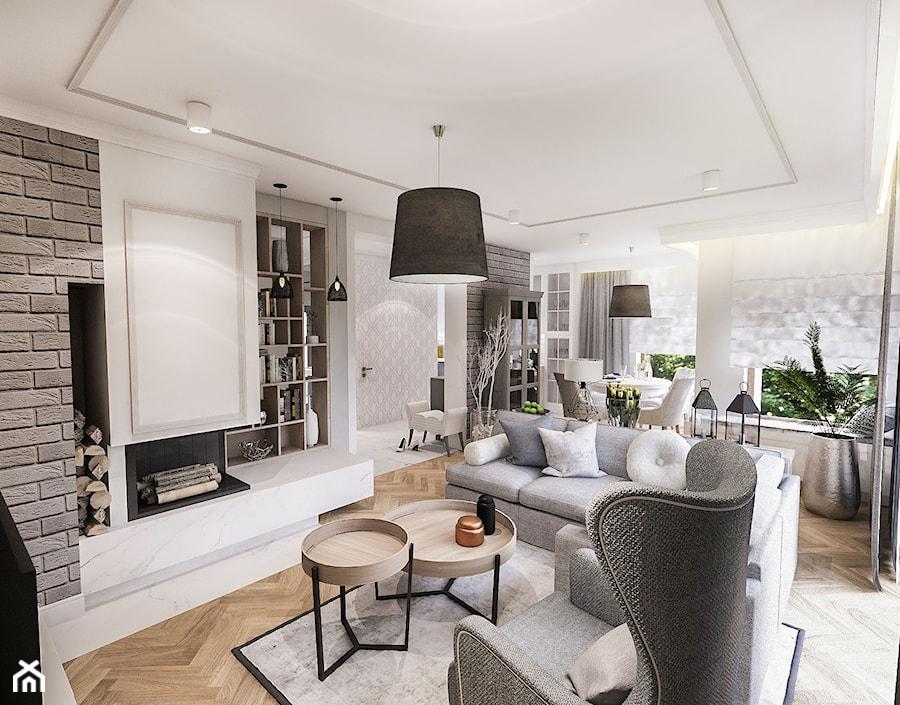 PROJEKT WNĘTRZ DOMU POD WARSZAWĄ 2018 - Średni szary biały salon z bibiloteczką z kuchnią z jadalnią z tarasem / balkonem - zdjęcie od BIBI