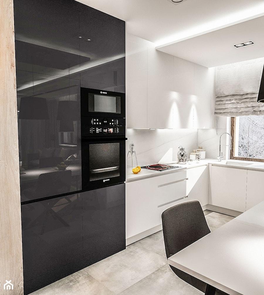 Aranżacje wnętrz - Kuchnia: Projekt mieszkania W Warszawie 80 m2 - Średnia otwarta biała kuchnia w kształcie litery l w aneksie z oknem, styl nowoczesny - BIBI. Przeglądaj, dodawaj i zapisuj najlepsze zdjęcia, pomysły i inspiracje designerskie. W bazie mamy już prawie milion fotografii!