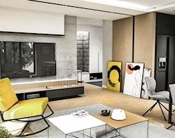 Projekt Mieszkania W-wa 2019 - Średni salon z kuchnią z jadalnią - zdjęcie od BIBI