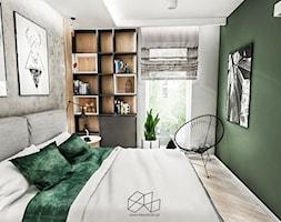 SYPIALNIA W KAWALERCE ŁÓDŻ 2019 - Mała szara zielona sypialnia małżeńska, styl vintage - zdjęcie od BIBI